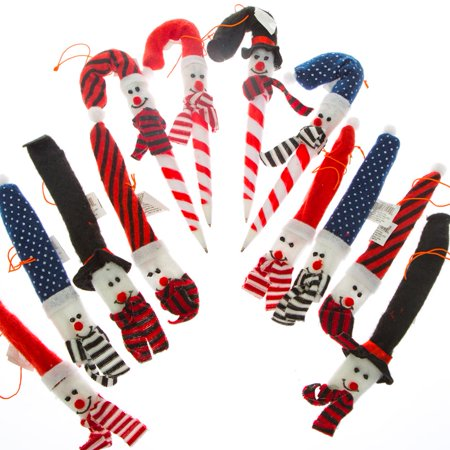 Holiday Snowman Candy Cane Cover Ornaments