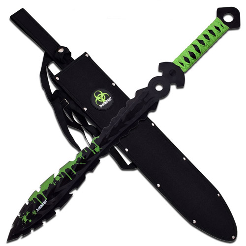 """Z-Hunter Fixed Painted Black 25"""" Blade, Green Blood Green Wrap End"""