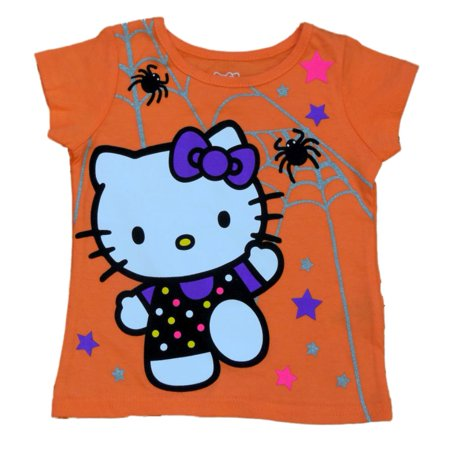 Infant & Toddler Girls Orange Hello Kitty Halloween Shirt Spider Cat T-Shirt