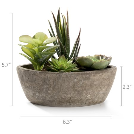 Realistic Mini Plastic Faux Succulent Plants Arrangement with a Decorative Boat Shape Gray Paper Pulp Pot ()