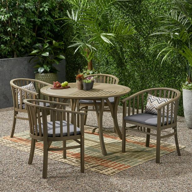 Ayan Outdoor 4 Seater Acacia Wood Circular Dining Set, Gray Finish