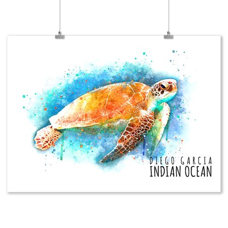 - Diego Garcia, Indian Ocean - Sea Turtle - Watercolor - Lantern Press Artwork (9x12 Art Print, Wall Decor Travel Poster)
