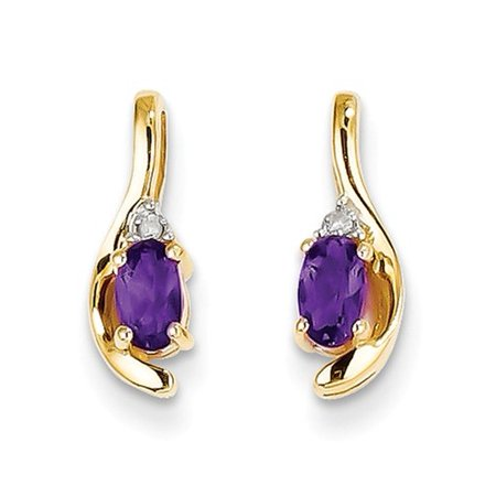 14k Yellow Gold 0.5IN Long 5x3 Oval Diamond & Amethyst Earrings