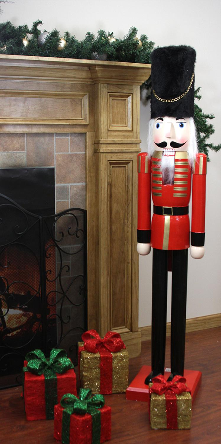 5' Decorative Commercial Size Red and Black Wooden christmas Nutcracker Soldier