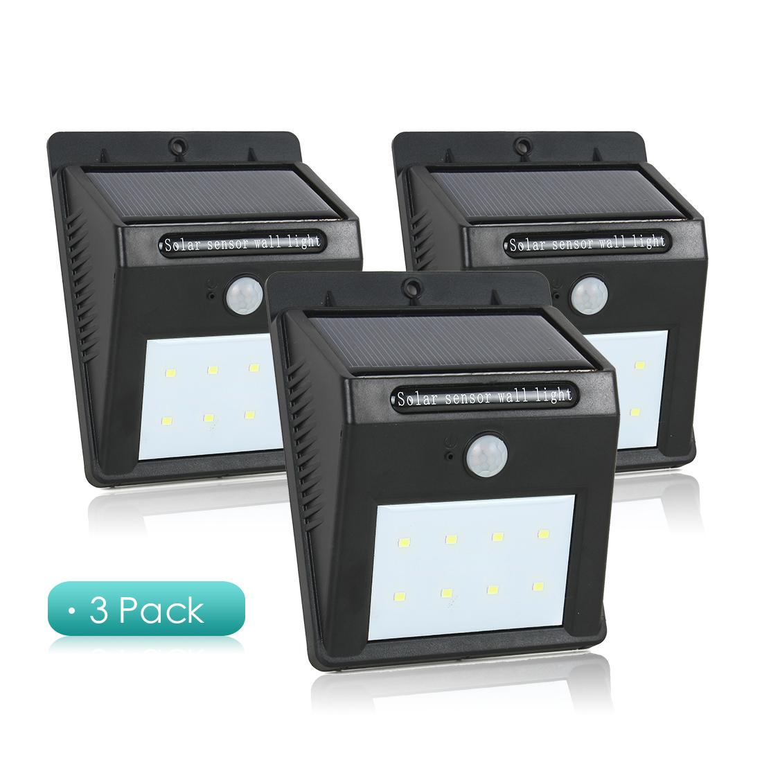 3 Pcs  Solar Light PIR CDS Motion Sensor Lamp 8 LEDs 80 Lumens