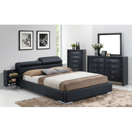 1PerfectChoice Manjot 4pcs Black Pu Storage King Bedroom Set