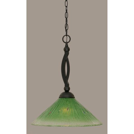 Bow Matte Black 16-Inch One Light Pendant with Kiwi Green Crystal Glass