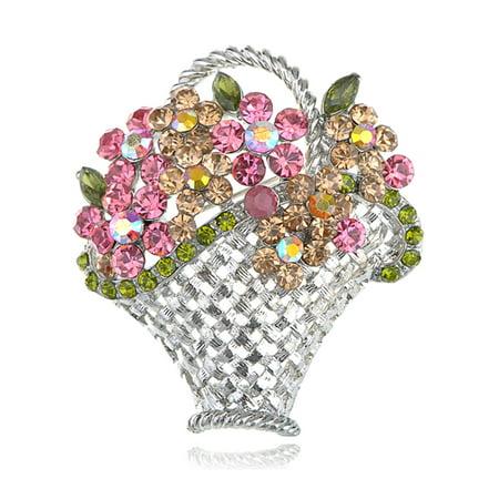 Easter Sunday Pastel Spring Flower Bouquet Rhinestone Woven Basket Pin Brooch