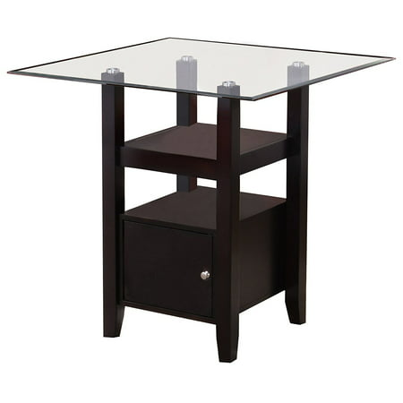 Lenn Counter Height Kitchen Dining Table, Cappuccino Wood, Beveled Glass Top, 35