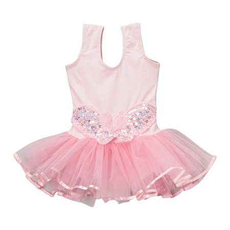 Girls Pink Butterfly Applique Skirted Ruffle Dance Leotard 12M-10 (Baby Leotard 18 Months)