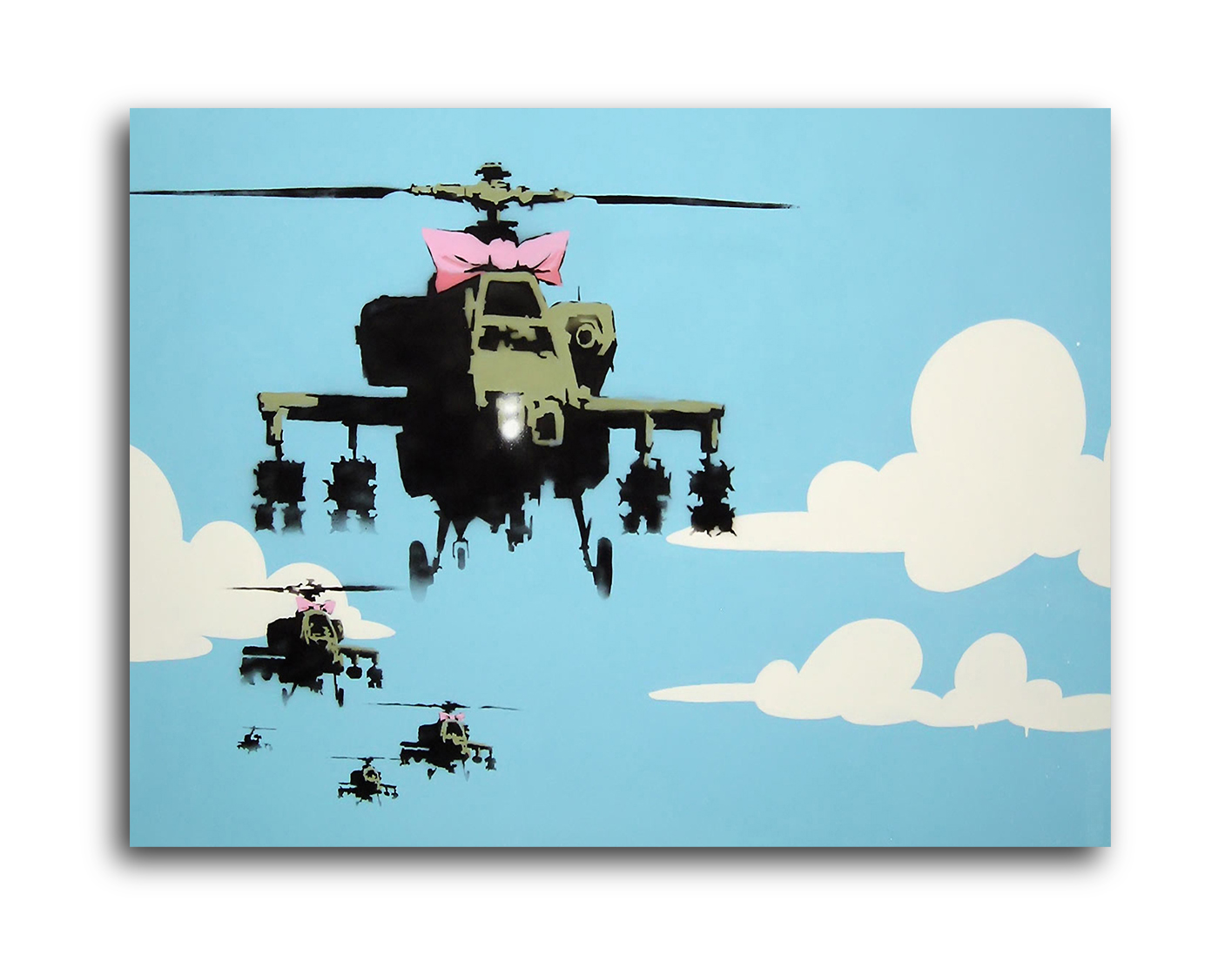 """Banksy Happy Choppers (Helicopters) Brushed Aluminum Metal Print (14"""" x 11"""") by Pingotopia Inc."""