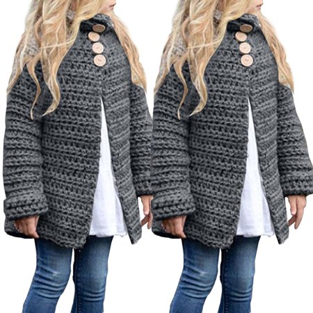 Girls Sweater Toddler Kids Baby Girls Outfit Clothes Button Knitted Tops Sweater Gray 1-2 - Girls Argyle Sweater