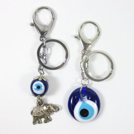 2Pc Keychains Lucky Evil Eye Elephant Key Ring Classic Charm Amulet Purse Gift