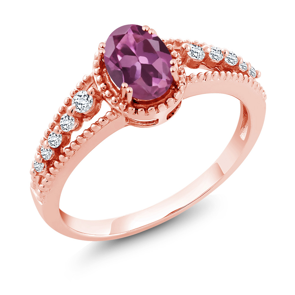 0.91 Ct Oval Pink Tourmaline White Topaz 18K Rose Gold Ring by