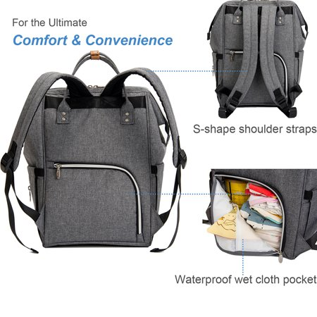 Diaper Bag Backpack, VBIGER Large Travel Multifunction Waterproof Baby Nappy Changing Bag for Dad Mom, Stylish, Gray