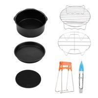 Zaqw Air Fryer Accessories Kit,Fryer Accessories Set,7 in 1 Air Fryer Accessories Set Kit Parts Metal Holder Skewer Rack Cake Barrel