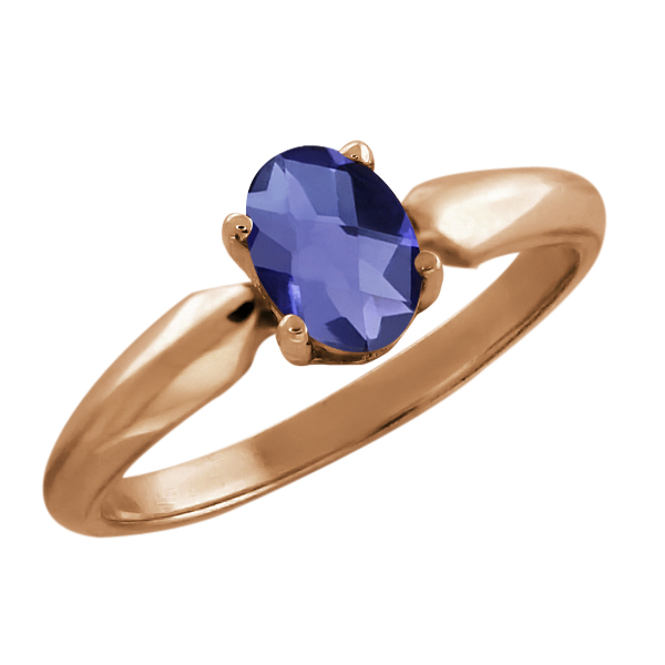 0.65 Ct Oval Checkerboard Blue Iolite Rose Gold Plated Sterling Silver Ring