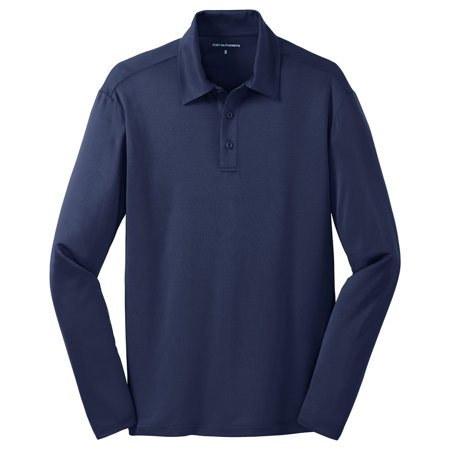 Port Authority Men's Silk Touch Performance Long Sleeve Polo Shirt Blue Drytec Performance Polo