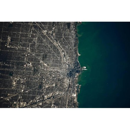 Satellite view of Chicago and Lake Michigan, Illinois, USA Print Wall Art (Lake Michigan Chicago Halloween)