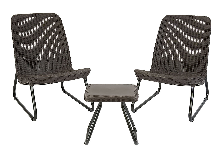Keter Rio 3 Pc All Weather Outdoor Patio Garden Conversation Chair U0026 Table  Set Furniture, Brown   Walmart.com