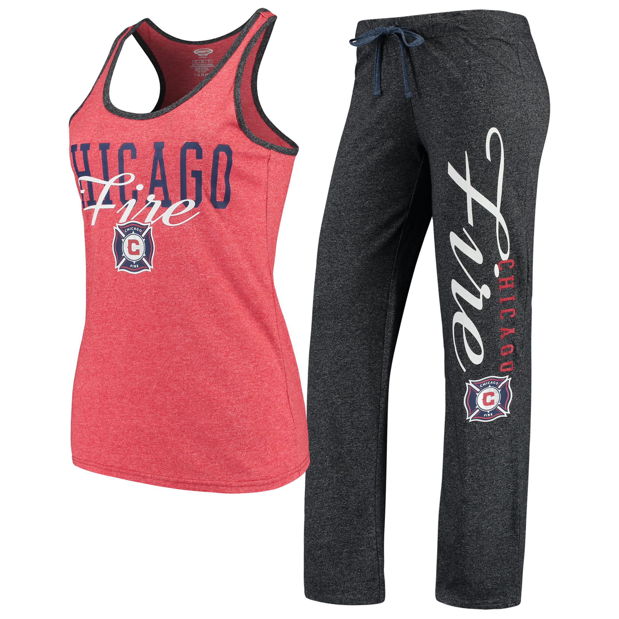 Chicago Fire Concepts Sport Women's Spar Tank Top & Pants Sleep Set - Heathered Red/Heathered Charcoal