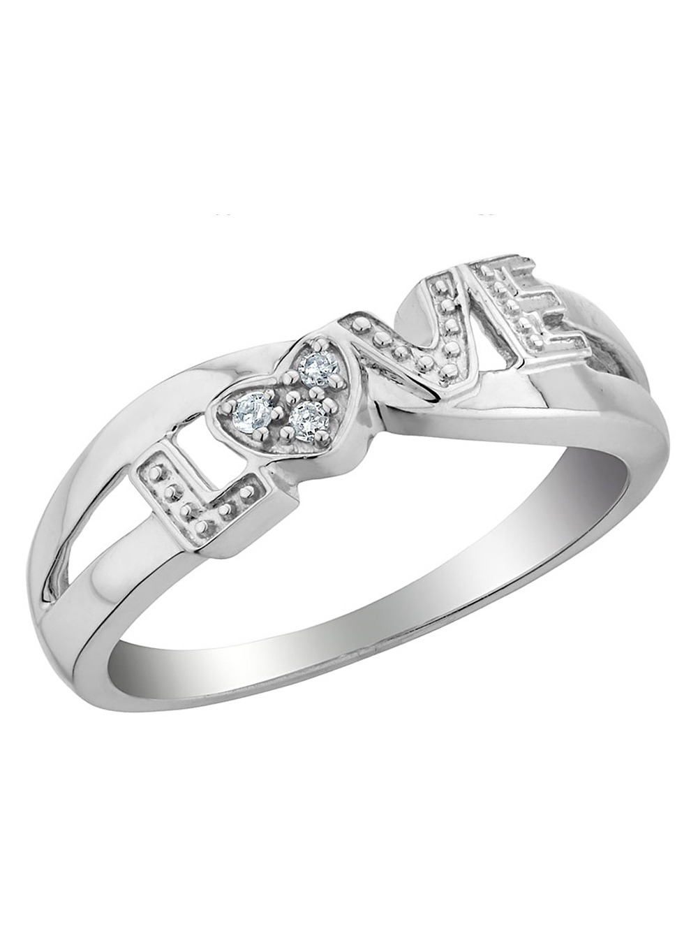 Diamond Love Promise Ring in Sterling Silver