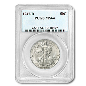 1947-D Walking Liberty Half Dollar MS-64 PCGS