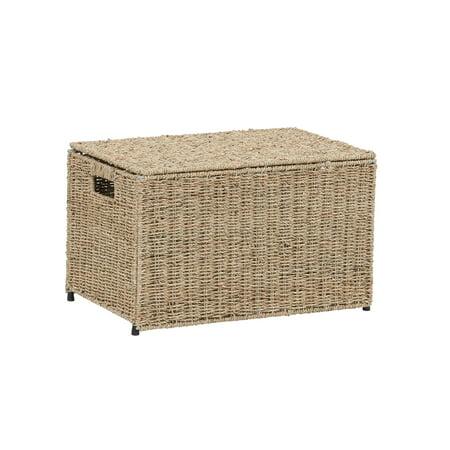 HOUSEHOLD ESSENTIALS Decorative Wicker Seagrass Storage - Seagrass Storage Chest
