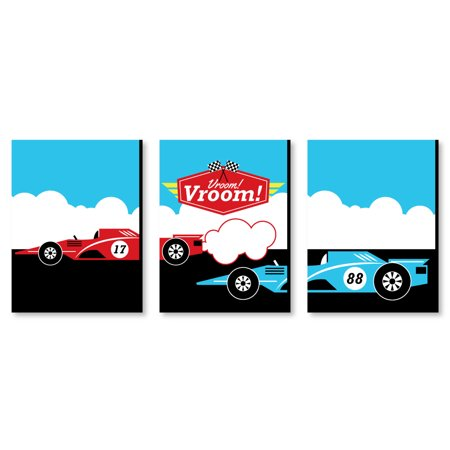 "Let's Go Racing - Racecar - Race Car Wall Art & Kids Room Decor - 7.5"" x 10"" - Set of 3 Prints - Racing Decor"