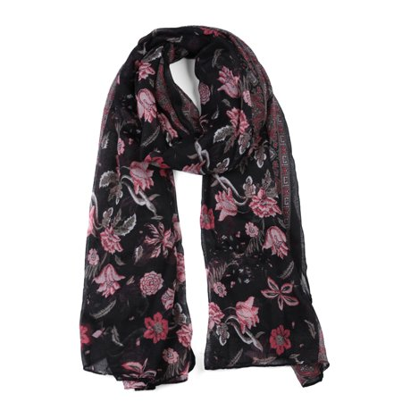 Large Polyester Scarves Beach Shawl Vintage Style Wraps For Women Black - image 1 of 1