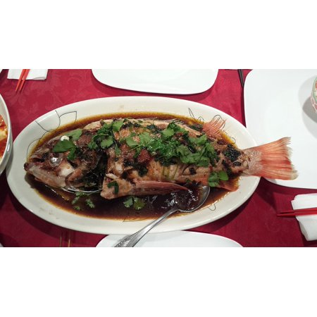 Canvas Print Dinner Chinese Fish Steamed Tasty Seafood Stretched Canvas 10 x 14
