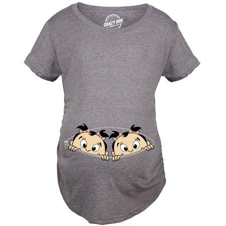 Maternity Peeking Twin Girls Tshirt Cute Adorable Pregnancy Tee For Mom To Be (Twin Maternity Halloween Shirts)