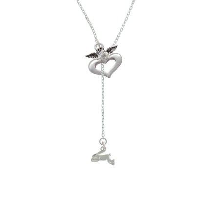Leaping Rabbit - Guardian Angel Lariat Necklace - Guardian Angel Necklace