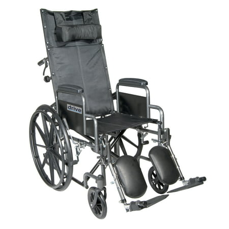 Drive Medical Silver Sport Reclining Wheelchair with Elevating Leg Rests, Detachable Desk Arms, 20
