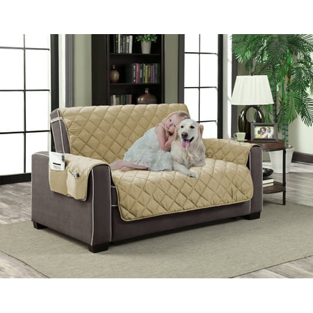 Home Dynamix Slipcovers: All Season Quilted Microfiber Pet Furniture Couch Protector Cover - Beige ()