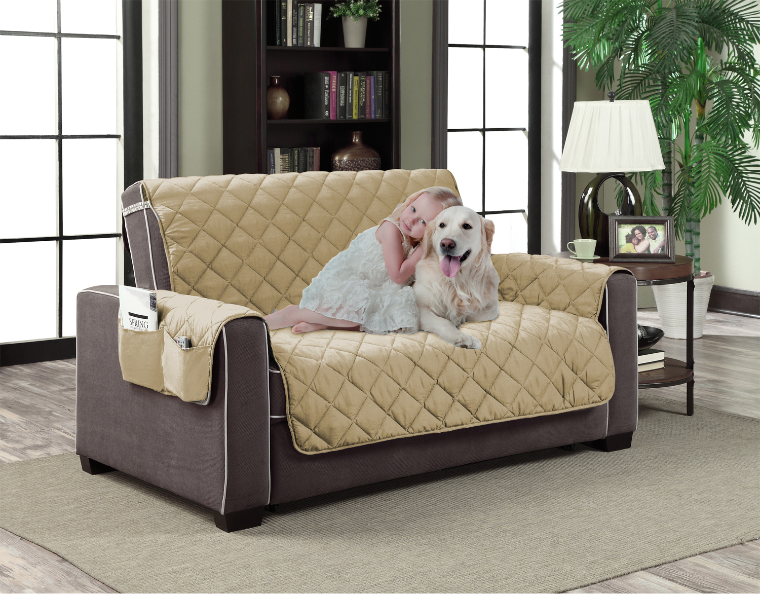 Home Dynamix Slipcovers: All Season Quilted Microfiber Pet Furniture Couch  Protector Cover   Beige