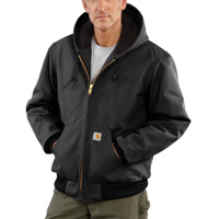 Carhartt Large Tall Black Quilted-Flannel Lined 12 Ounce ...