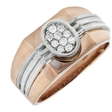 Men's 14K Two-Tone Gold Oval Shaped Strip Shank Diamond Pinky Ring (Oval Shaped Head Men)