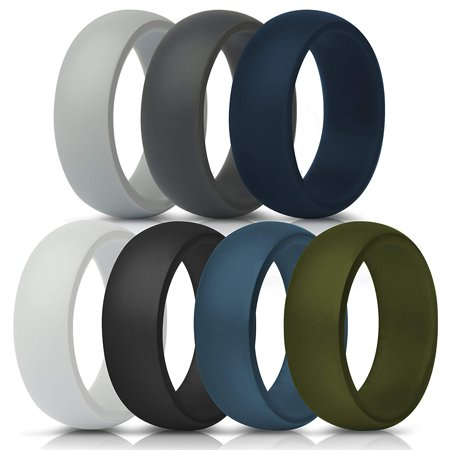 Teal Wedding Rings (BALORAY Silicone Rings for Men Work,7 Packs Multiple Size Silicone Wedding Bands Replacement with Solid Colors for Sport,Workout,Outdoor Size)