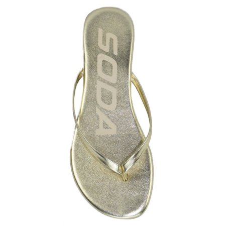 2d0929954c5f SODA - Soda Shoes Women Flip Flops Basic Plain Sandals Strap Casual Beach  Thongs SeaShell Light Gold 11 - Walmart.com