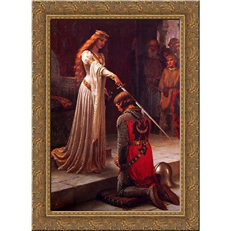 The Accolade 19x24 Gold Ornate Wood Framed Canvas Art by Leighton, Edmund Blair