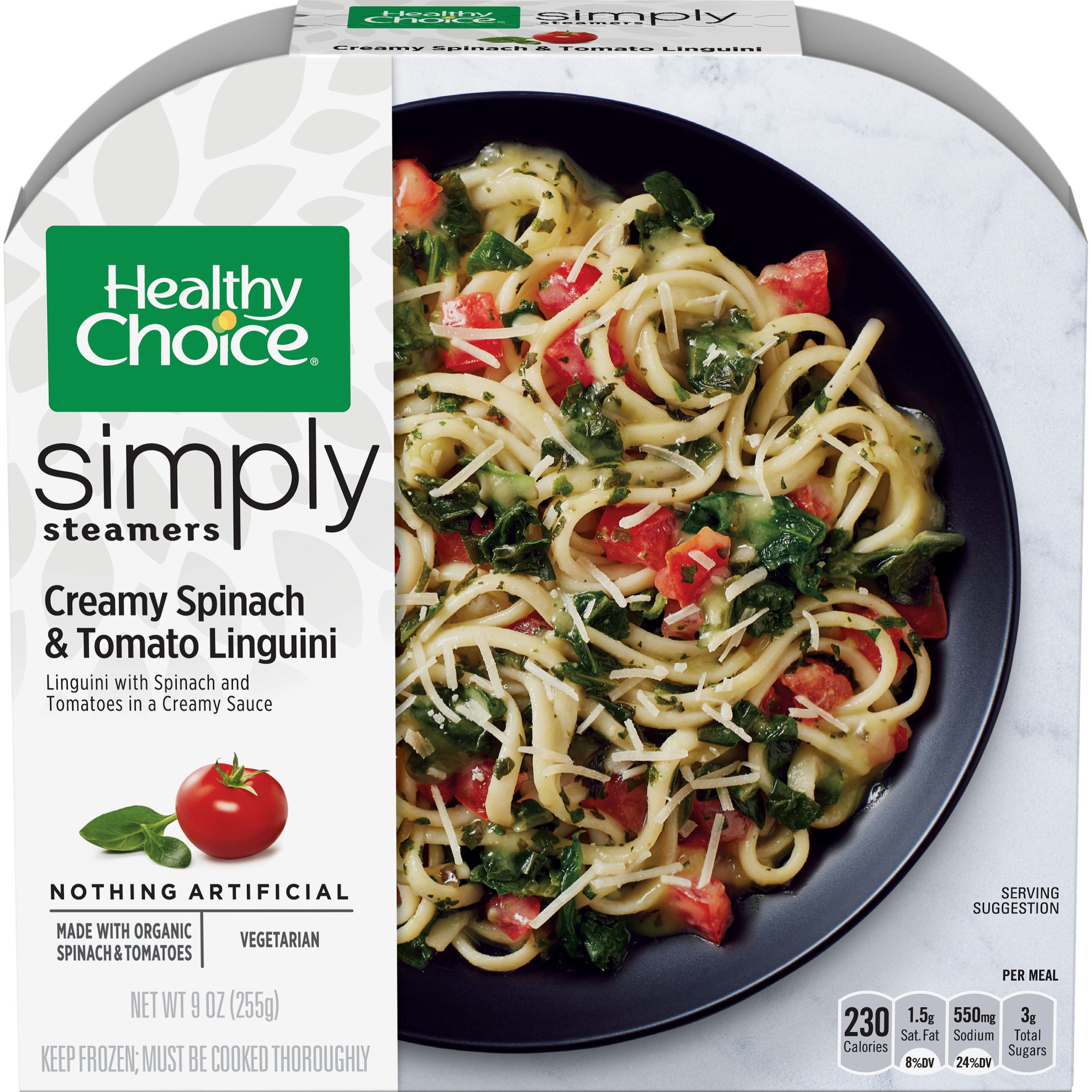 Healthy Choice Simply Steamers Frozen Dinner, Creamy Spinach & Tomato Linguini, 9 Ounce