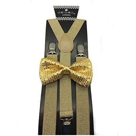 223f901d373 All Gold Mens   Women Wedding Accessories Sequin Adjustable Bow Tie   Glitter  Suspenders - Walmart.com