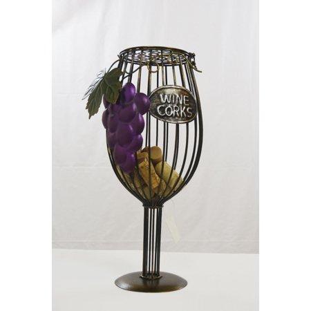 Midwest CBK Metal Korks Cage Holder- Wine Grape Glass Grapes Wine Holder