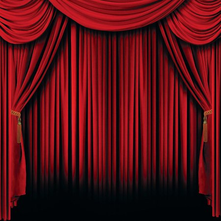 Plastic Red Curtain Backdrop Banner (2 pc )