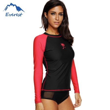 Guard Dive Shirt - Reactionnx Women's UV Sun Protection Shirts  Long Sleeve Rash Guard Wetsuit Swimsuit Top,  Black and Red