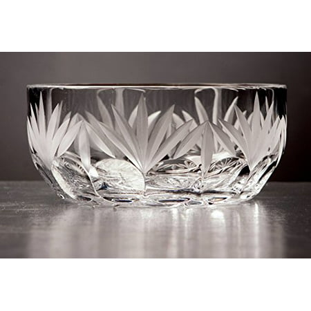 GAC Mouth Blown Crystal Round Bowl Frosted Cut 6 Inch ()