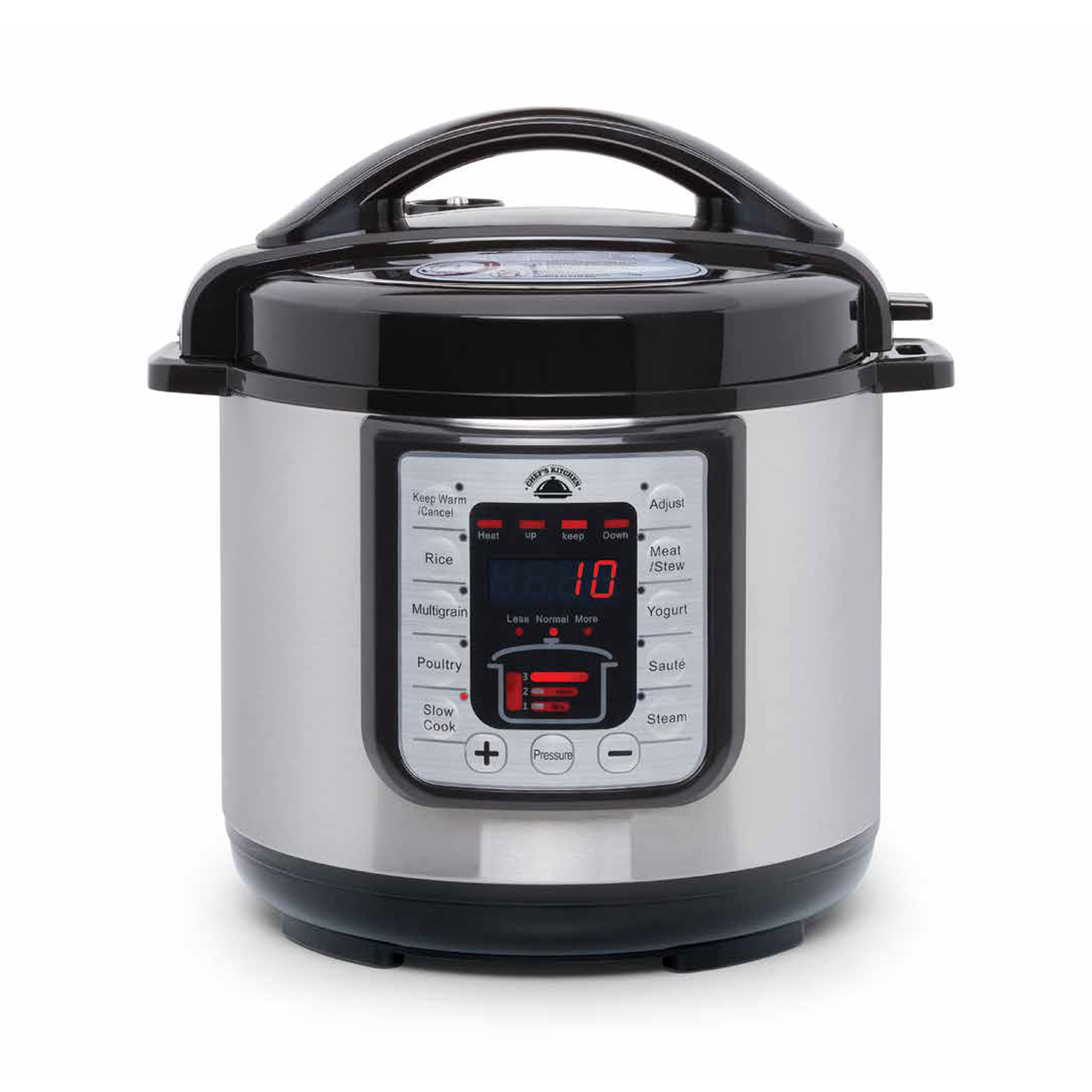 Chef's Kitchen-Best Pressure Cooker, 6 Quart Pot, Pressure Lock Lid and Handle, Digital Control Panel w/ One-Touch Cooking and Manaul Mode