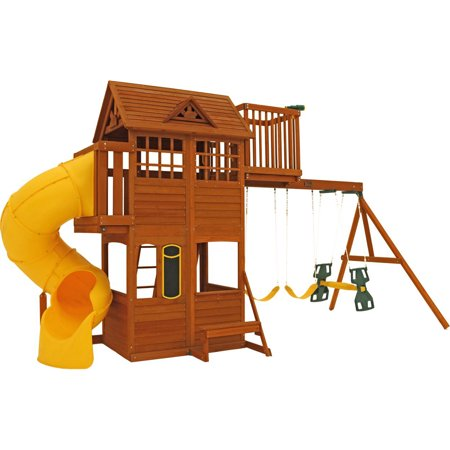 Kidkraft Abbeydale Outdoor Childrens Playhouse Swing Clubhouse Wooden Playset