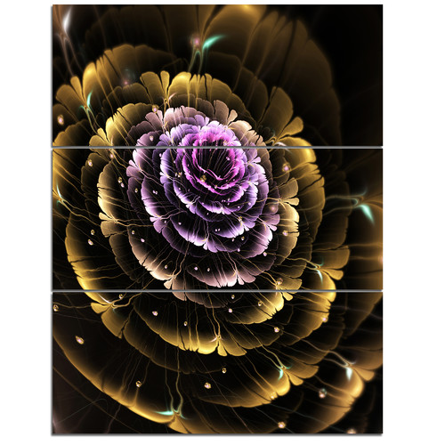 Design Art Perfect Fractal Flower in Gold and Purple - 3 Piece Graphic Art on Wrapped Canvas Set